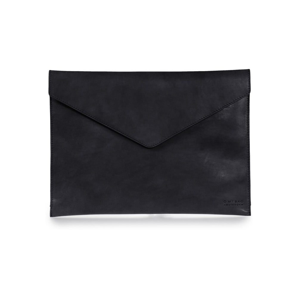 """Čierny kožený obal na notebook 13"""" v tvare obálky O My Bag"""