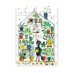 Puzzle z recyklovaných materiálov Pucle Kocúr botanikom, 48 dielikov