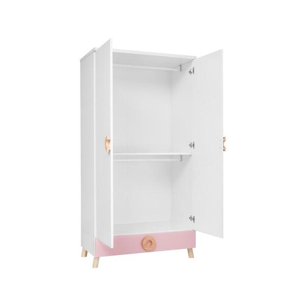 Ružovo-biela šatníková skriňa KICOTI Circle
