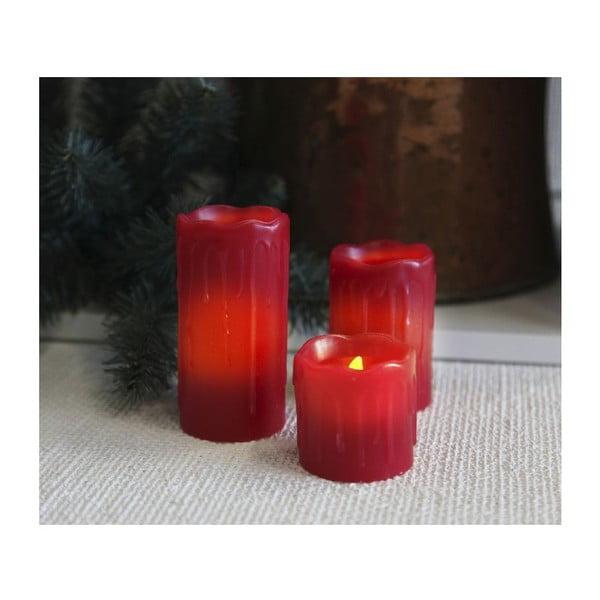 Sada 3 červených LED sviečok Best Season Christmas