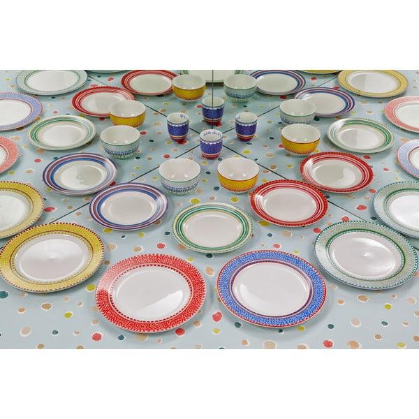 Sada 4 porcelánových tanierikov Oilily 22cm, červená