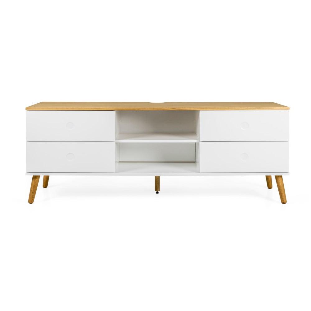 Biely TV stolík s detailmi v dekore dubového dreva Tenzo Dot, šírka 162 cm