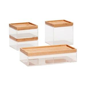 Sada 4 priehľadných úložných boxov s vrchnákmi z dubového dreva Hübsch Eluf
