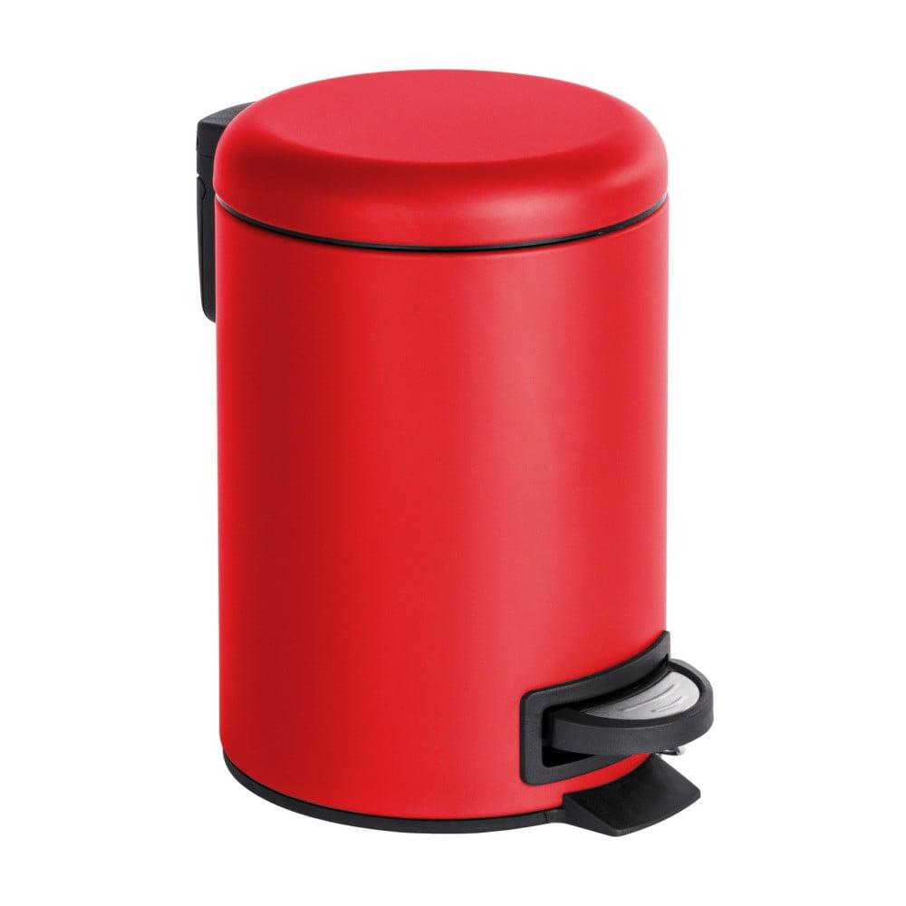 Červený pedálový odpadkový kôš Wenko Leman, 3 l