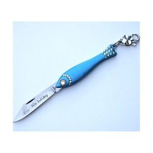 Svetlomodrý český nožík rybička s nápisom Na hřiby v dizajne od Alexandry Dětinskej