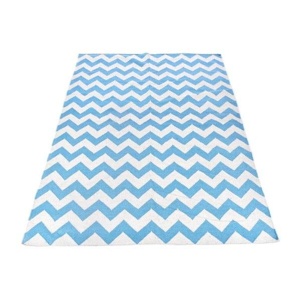 Vlnený koberec Geometry Zic Zac Blue & White, 160x230 cm