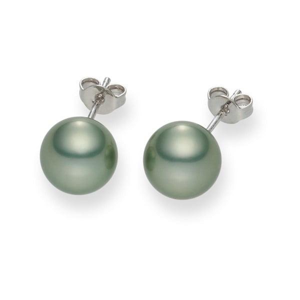 Svetlozelené perlové náušnice Pearls Of London Mystic