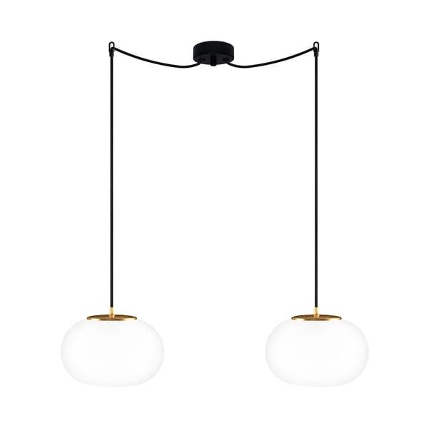 Dvojité závesné svietidlo z opálového skla so zlatou objímkou Sotto Luce DOSEI