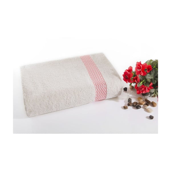 ružovo-biela bavlnená osuška Ladik Ella, 70 x 140 cm