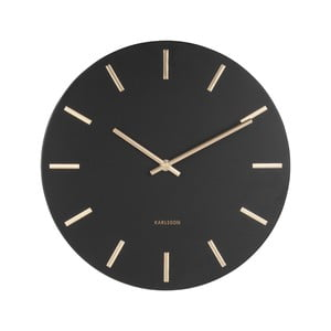 Čierne nástenné hodiny s ručičkami v zlatej farbe Karlsson Charm, ø 30 cm