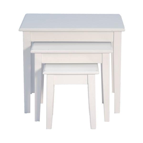 Sada 3 odkladacích stolíkov White Side Tables