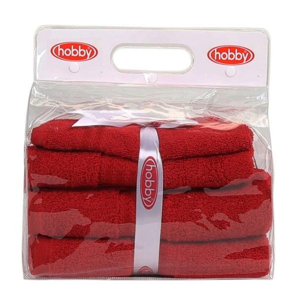 Set 3 červených uterákov a osušky Rainbow