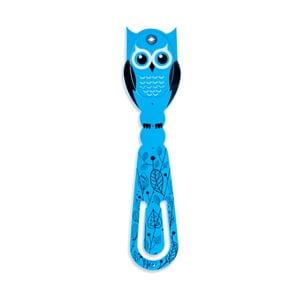 Modrá LED lampička na čítanie Thinking gifts Flexilight Owl