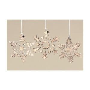 Sada 3 ks dekoratívnych vločiek Gold Snowflake
