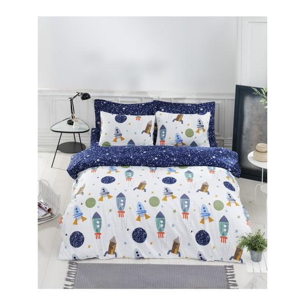 Obliečky s plachtou na dvojlôžko z ranforce bavlny Mijolnir Space× Dark Blue, 200 x 220 cm