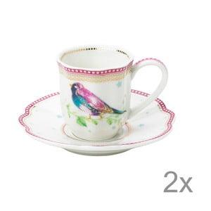 Porcelánová šálka na espresso s tanierikom Birdie od Lisbeth Dahl, 2 ks