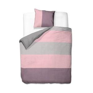 Ružovo-sivé obojstranné bavlnené obliečky na dvojlôžko DecoKing Violetta, 200 x 200 cm