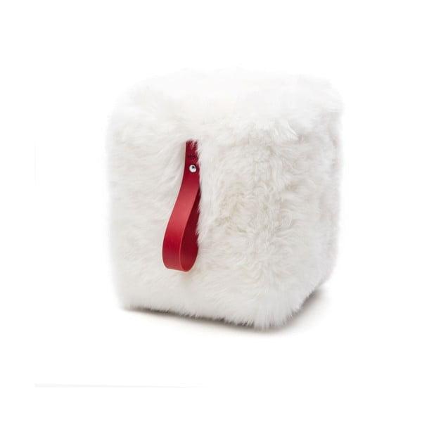 Bielo-červený hranatý puf z ovčej vlny Royal Dream
