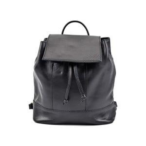 Čierny kožený dámsky batoh Roberta M Ramida
