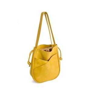 Žltá kožená kabelka Woox Bella