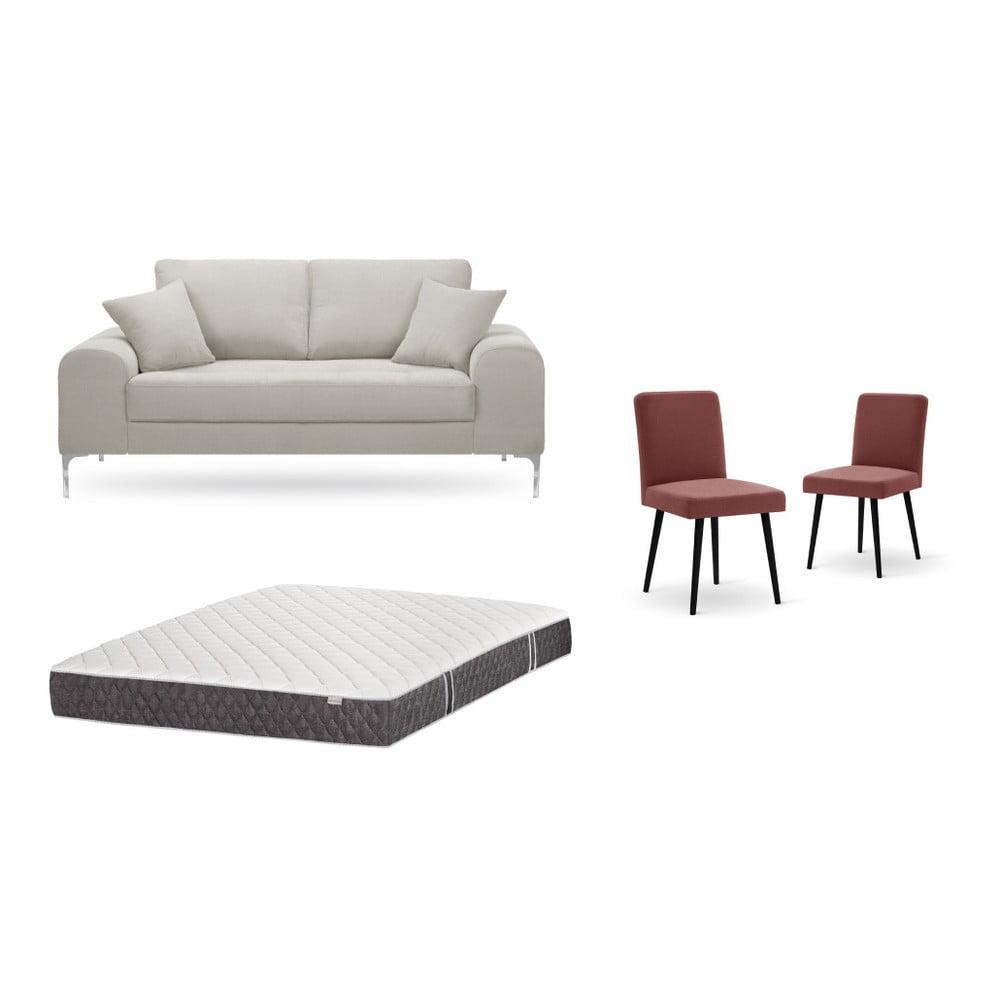 Set dvojmiestnej krémovej pohovky, 2 tehlovočervených stoličiek a matraca 140 × 200 cm Home Essentials