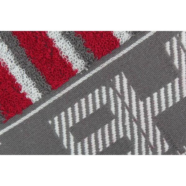 Sivo-červený bavlnený uterák BHPC, 50x100cm