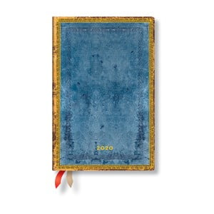 Modrý diár na rok 2020 v tvrdej väzbe Paperblanks Riviera, 160 strán