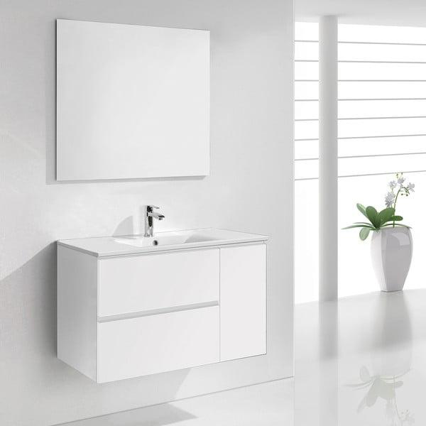 Kúpeľňová skrinka s umývadlom a zrkadlom Happy, odtieň bielej, 80 cm
