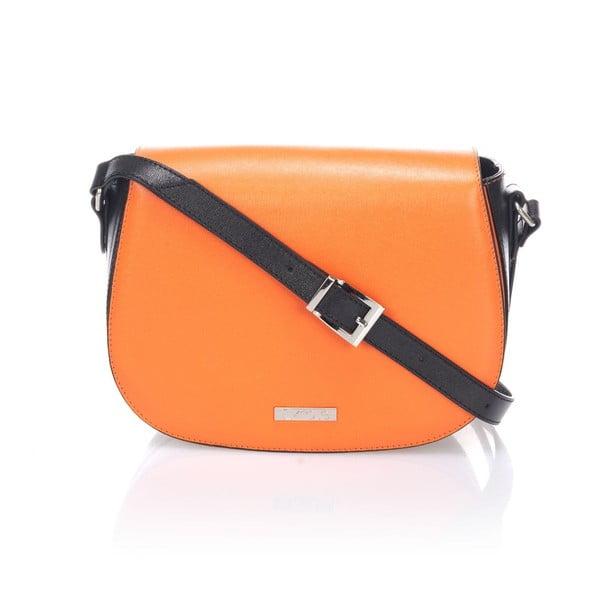 Kožená kabelka Krole Karina, oranžová/čierna