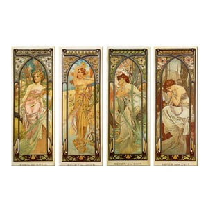 Sada štyroch obrazov Alfons Mucha Times of The Day, 40x100 cm