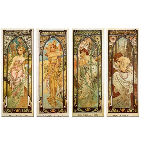 Sada štyroch obrazov Alfons Mucha Times of The Day, 45x120 cm