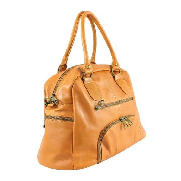 Horčicová kožená kabelka Jenny