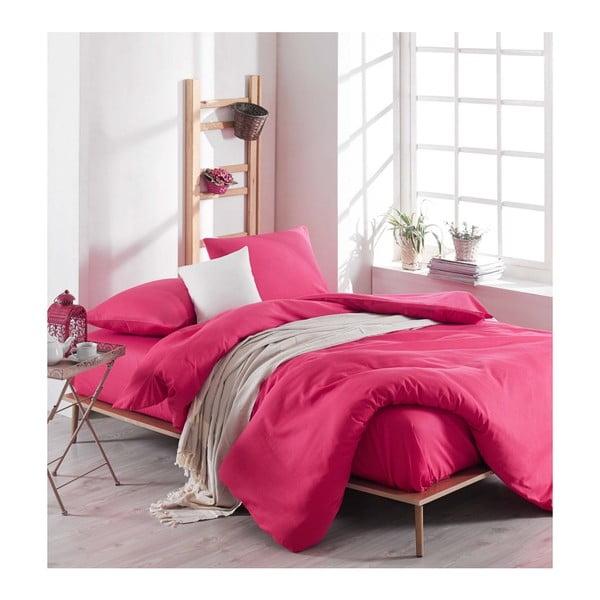 Ružové obliečky s plachtou na dvojlôžko Rose, 200 × 220 cm