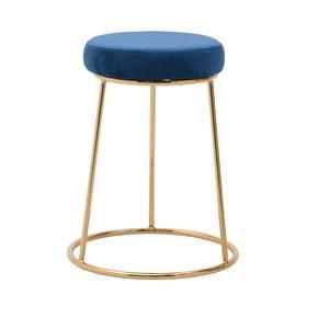 Modrá stolička InArt Velvet Society, výška 55 cm