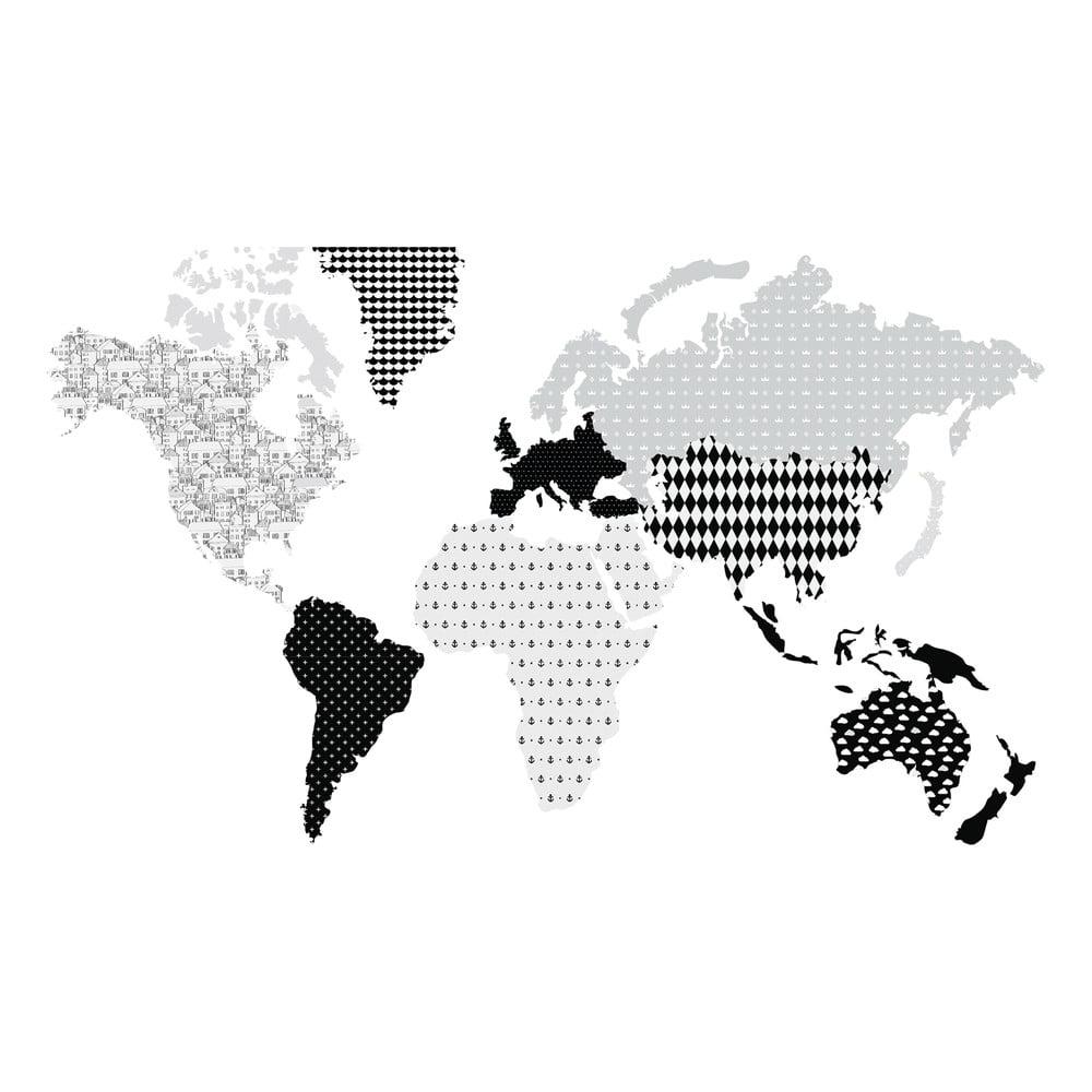 Nástenná samolepka Dekornik Map Dark, 120 x 70 cm
