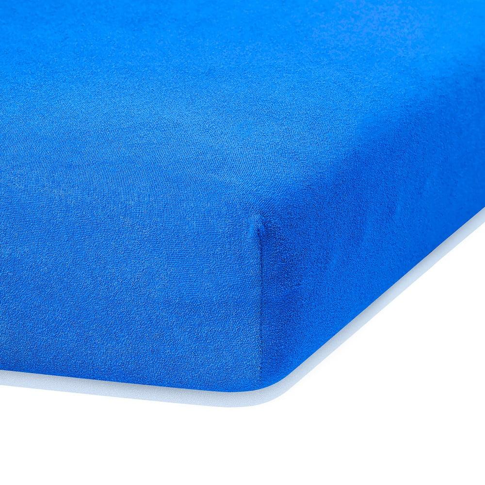 Modrá elastická plachta s vysokým podielom bavlny AmeliaHome Ruby, 200 x 140-160 cm
