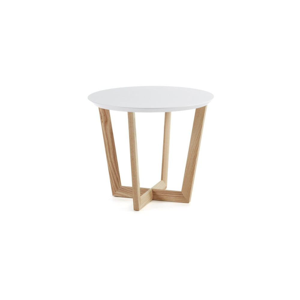 Odkladací stolík z jaseňového dreva s bielou doskou La Forma Rondo, ⌀ 60 cm