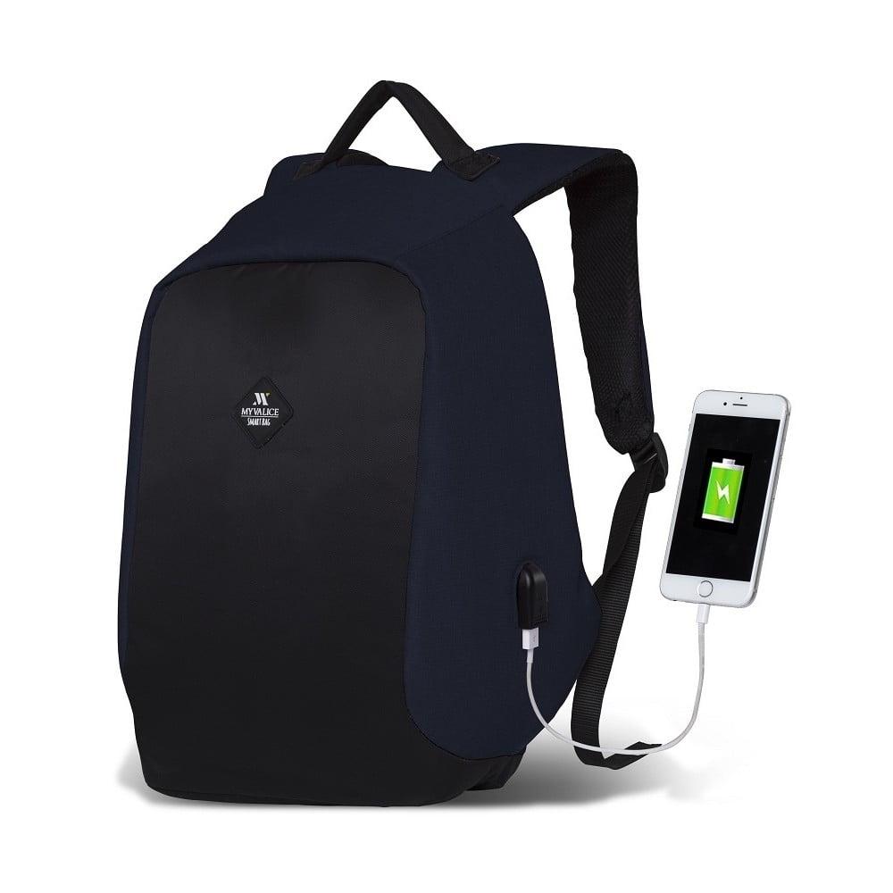 6874b83ab1 Tmavomodro-čierny batoh s USB portom My Valice SECRET Smart Bag