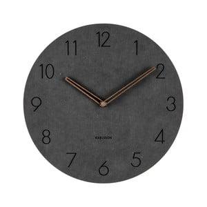 Čierne nástenné drevené hodiny Karlsson Dura, Ø29cm