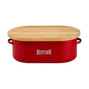Červený smaltovaný chlebník s doštičkou Typhoon Vintage