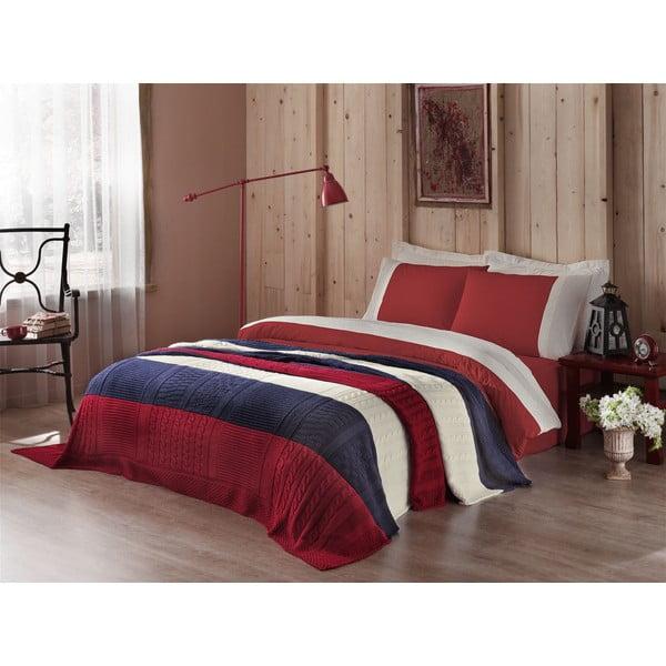 Obliečky s plachtou a posteľnou prikrývkou Blue and Red, 160x220 cm