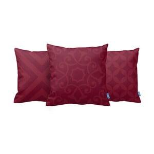 Sada 3 vankúšov Red On Red, 43x43 cm