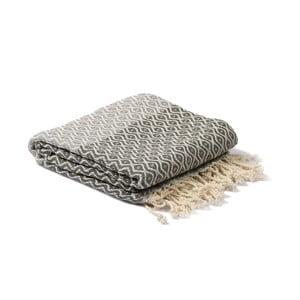 Sivý hammam uterák Spa Time Dot, 95x180cm
