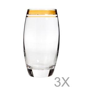Sada 3 vysokých pohárov s okrajom zlatej farby Mezzo Adriana, 270 ml