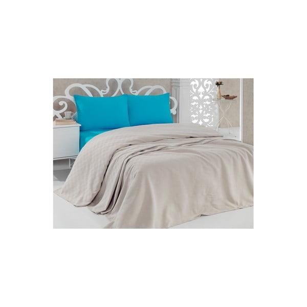 Bavlnená prikrývka cez posteľ Pique Beige, 200×240 cm
