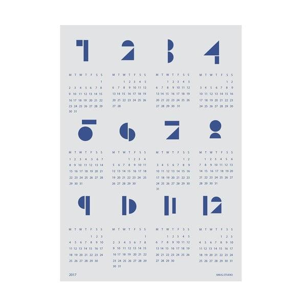 Nástenný kalendár SNUG.Toy Blocks 2017, modrý