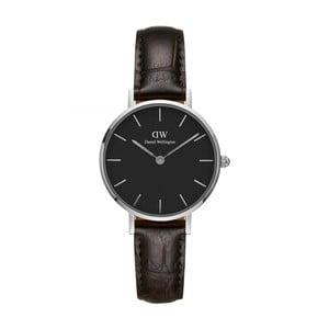 Dámske hodinky s koženým remienkom s detailmi striebornej farby Daniel Wellington Petite York, ⌀28 mm