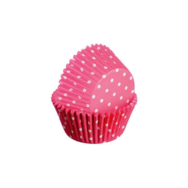 Sada 75 formičiek na cupcakes Polka, červená