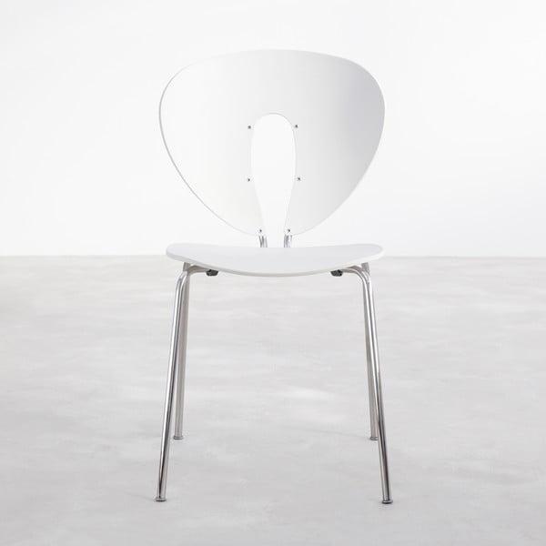 Biela stolička s lesklými chrómovanými nohami Stua Globus