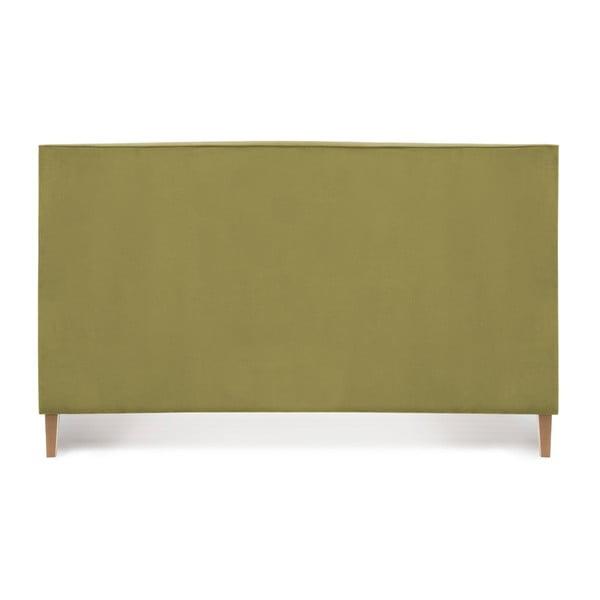 Olivovozelená posteľ s prírodnými nohami Vivonita Kent, 180 × 200 cm